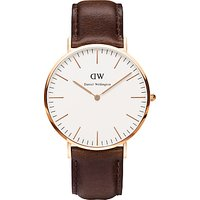 Daniel Wellington 0109DW Mens Classy Rose Gold Plated Leather Strap Watch, Brown/White