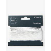 John Lewis 3mm Twisted Cord, 5m, White