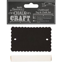 Docrafts Papermania Chalk Craft Scalloped Chalkboard Tag and Chalk Set, Pack of 12