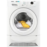 Zanussi ZDC8203W Condenser Tumble Dryer, 8kg Load, B Energy Rating, White