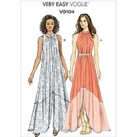 Vogue Very Easy Womens Slit Hem Maxi Dress Sewing Pattern, 9104