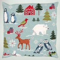 Rico Ice Bear Cushion Embroidery Kit, Blue