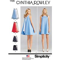 Simplicity by Cynthia Rowley Womens Sleeveless A-Line Dress, Top and Mini Skirt Sewing Pattern, 1105