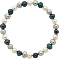 Finesse Stretch Pearl Bracelet, White/Blue