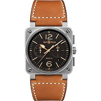 Bell & Ross BR0394-ST-G-HE/SCA Mens Golden Heritage Chronograph Leather Strap Watch, Brown/Black