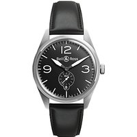 Bell & Ross BRV123-BL-ST/SCA Mens Vintage Original Automatic Leather Strap Watch, Black