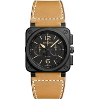 Bell & Ross BR0394-HERI-CE Mens Leather Strap Watch, Tan/Black