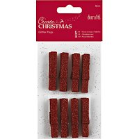 Docrafts Glitter Pegs, Red, Pack of 8