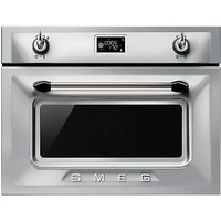 Smeg SF4920MCX Victoria Integrated Compact Combi Microwave Oven, Stainless Steel