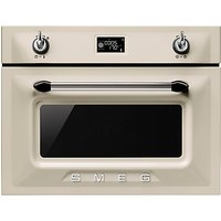 Smeg SF4920MCP Victoria Integrated Compact Combi Microwave Oven, Cream