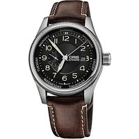 Oris 01 745 7688 4034-07 5 22 77F Mens Big Crown Small Second Pointer Day Leather Strap Watch, Brown/Black