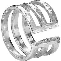 Dower & Hall Sterling Silver 12mm Triple Band Ring, Silver