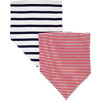 John Lewis Baby Stripe Dribble Bibs, Pack of 2, Red/Navy