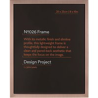 Design Project by John Lewis No.026 Rose Gold Finish Photo Frame, 8 x 10