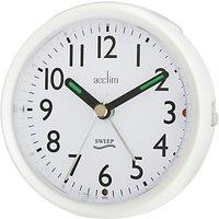Acctim Round Sweep Alarm Clock, Pearl White