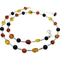 Goldmajor Sterling Silver Bead Collar Necklace, Amber