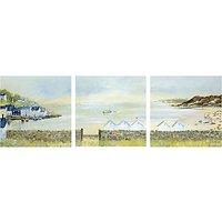 Anthony Waller - Beach Hut Parade Triptych, 105 x 35cm