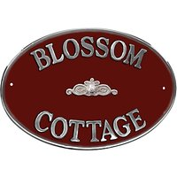 The House Nameplate Company Personalised Aluminium Oval House Sign, Scroll Motif, Large