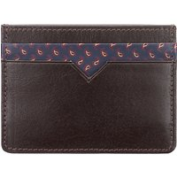 John Lewis Paisley Leather Card Holder, Brown
