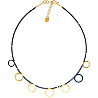 Be-Jewelled Gold Plated Oxydised Sterling Silver Circle Hematite Necklace, Gold/Black