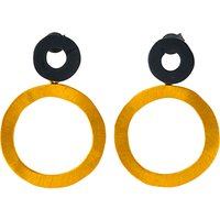Be-Jewelled Gold Plated Oxydised Sterling Silver Circle Drop Earrings, Gold/Black