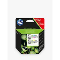 HP 932 XL/933 XL Cyan, Magenta, Yellow & Black Ink Cartridge Multipack, Pack of 4