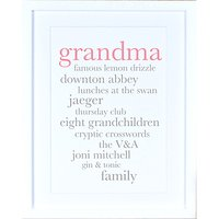 Megan Claire - Personalised Grandma Definition Framed Print, 35.5 x 27.5cm