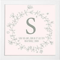 Modo Creative Personalised Name Floral Wreath Framed Print, 18 x 18cm