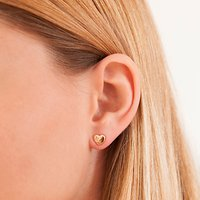 Merci Maman Personalised 18ct Gold Plated Heart Stud Earrings, Gold