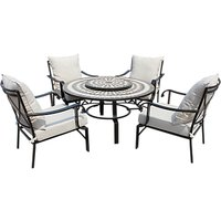 LG Outdoor Casablanca 4-Seater Round Table & Armchair Lounge Set with Firepit & Lazy Susan