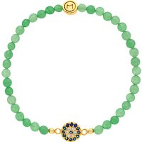 Melissa Odabash Evil Eye Jade Bead Bracelet, Green/Gold