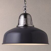 John Lewis Braxton Factory Pendant Light, Grey