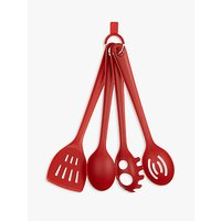 House by John Lewis Kitchen Utensils, Set of 4, Red