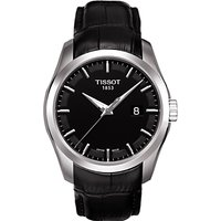 Tissot T0354101605100 Mens Couturier Date Leather Strap Watch, Black
