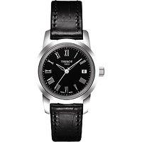 Tissot T0332101605300 Womens Classic Dream Date Leather Strap Watch, Black