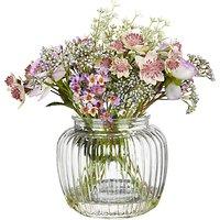 Artificial Peony Purple Flowers in Glass Bottle Vase