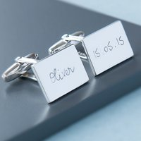 Merci Maman Personalised Sterling Silver Rectangular Cufflinks, Silver