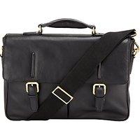 John Lewis Salzburg Leather Mini Briefcase, Black