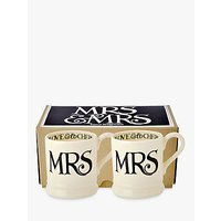 Emma Bridgewater Black Toast Mrs & Mrs Mug, Set Of 2, Black/white, 300ml