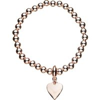 John Lewis Ball Bead Heart Charm Stretch Bracelet, Gold