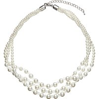 John Lewis Three Row Graduating Faux Pearl and Bead Twist Necklace, White/Clear