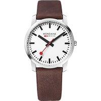 Mondaine A638.30350.11SBG Unisex Simply Elegant Leather Strap Watch, Dark Brown/White