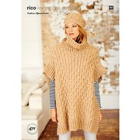 Rico Alpaca Dream Womens Poncho and Hat Knitting Pattern, 471