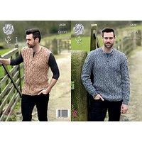 King Cole Fashion Aran Combo Mens Jumper and Slipover Knitting Pattern, 4628