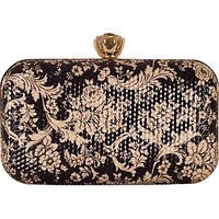 Chesca Floral Clutch Bag, Black/Gold