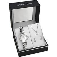 Sekonda 2351G.76 Womens Bracelet Strap Watch, Pendant Necklace and Earrings Gift Set, Silver