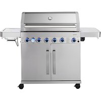 John Lewis 6 Burner Deluxe Gas BBQ with Side Burner, Silver/Black