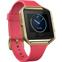 Fitbit Blaze Gunmetal Wireless Activity and Sleep Tracking Smart Fitness Watch, Small, Pink / Gold