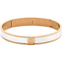 Dyrberg/Kern Hinge Enamel Bangle, Rose Gold/White