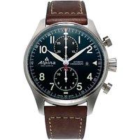 Alpina AL-725N4S6 Mens Startimer Pilot Automatic Chronograph Date Leather Strap Watch, Brown/Dark Blue